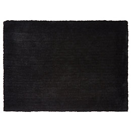 Colours Oriana Black Plain Rug (L)170cm (W)120cm