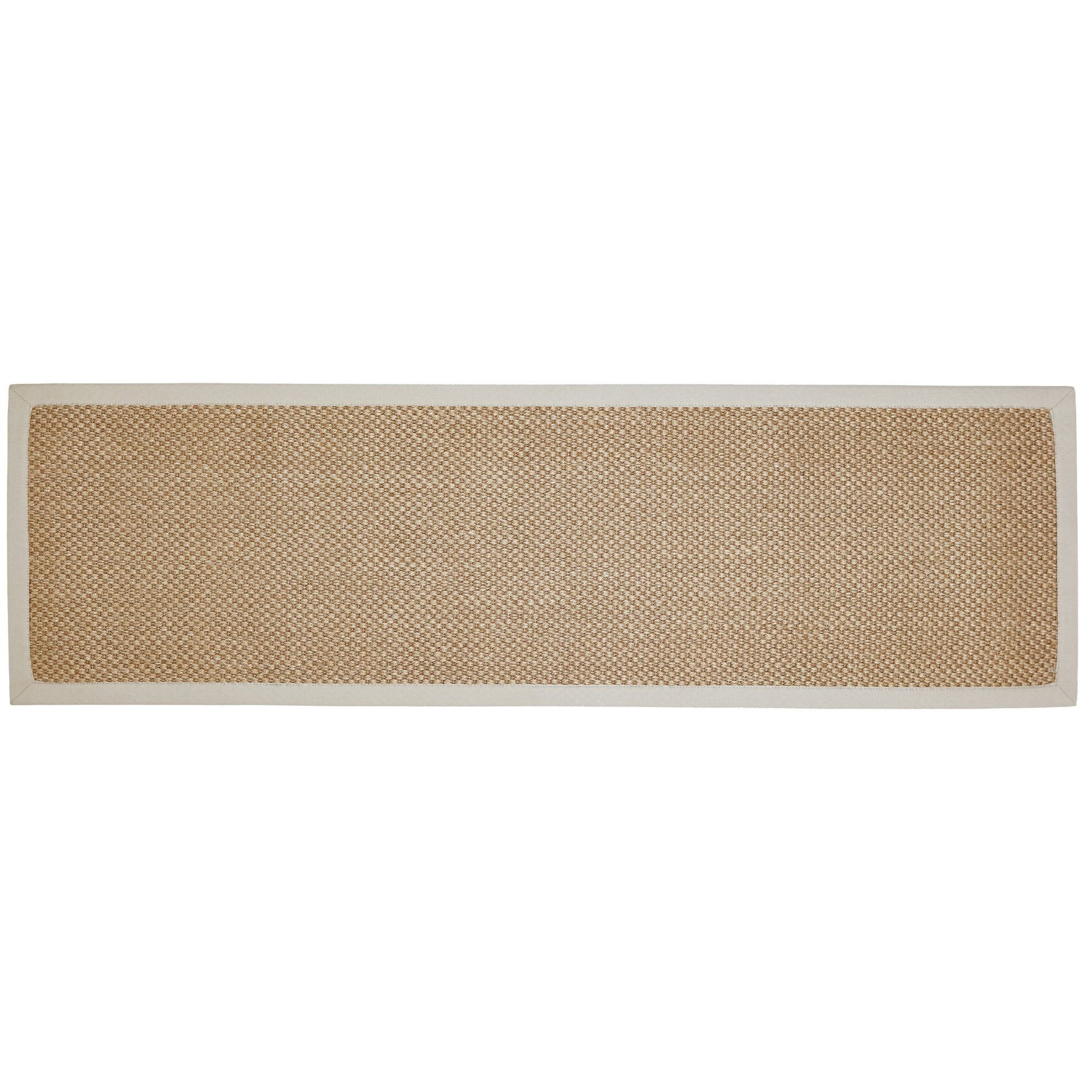 Colours Fabianna Natural Flatweave With Cotton Border Runner (l)2m (w)0.6 M