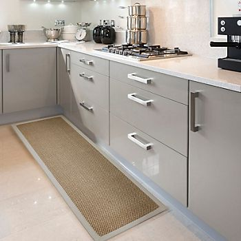 Colours Fabianna Natural Flatweave with Cotton Border Runner on vinyl flooring in a kitchen