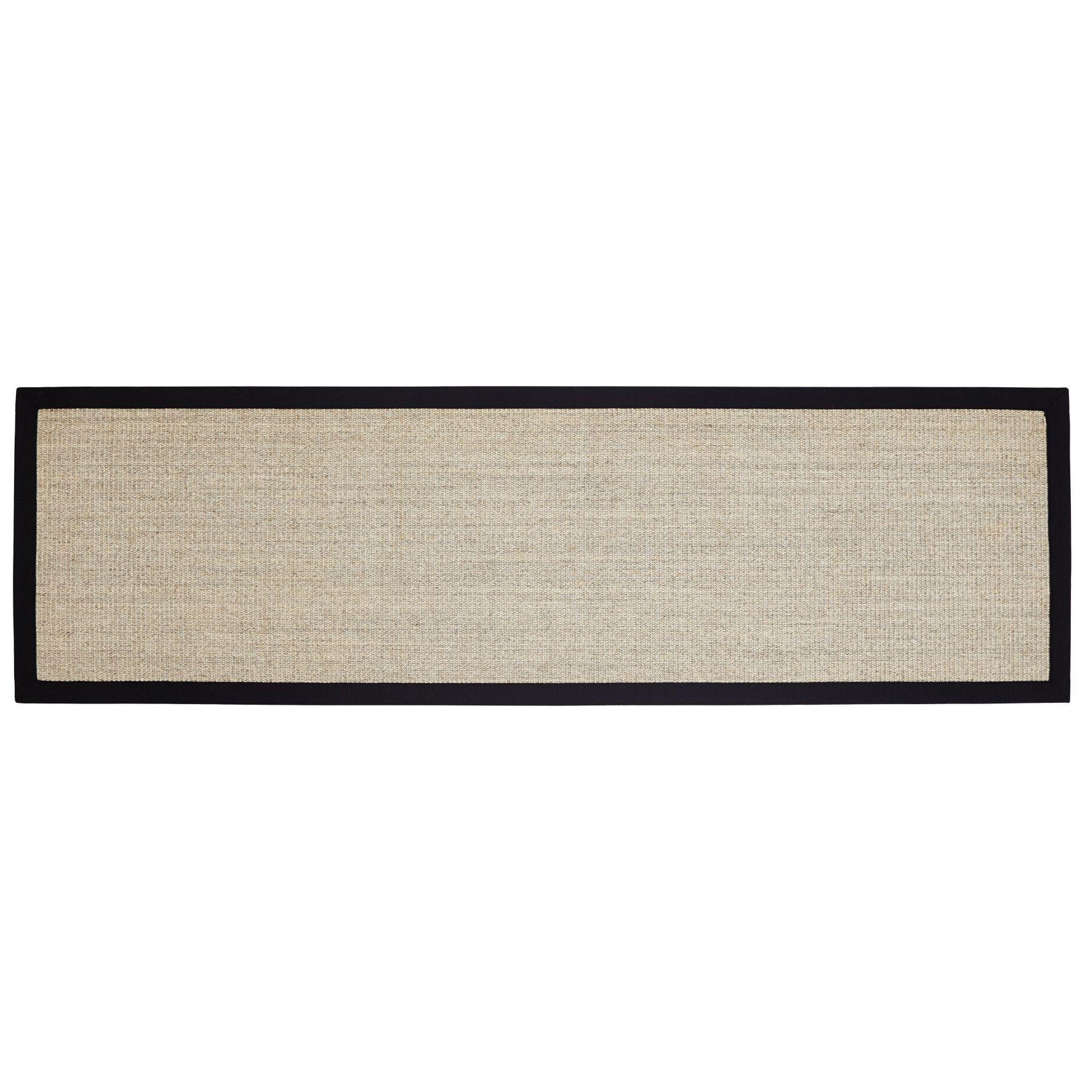Colours Fedora Black Flatweave With Cotton Border Runner (l)2m (w)0.6 M
