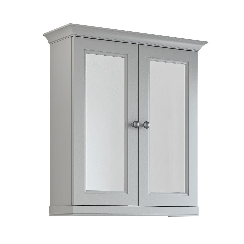 Cooke lewis chadleigh double door light grey matt mirror for Bathroom cabinets 400mm wide