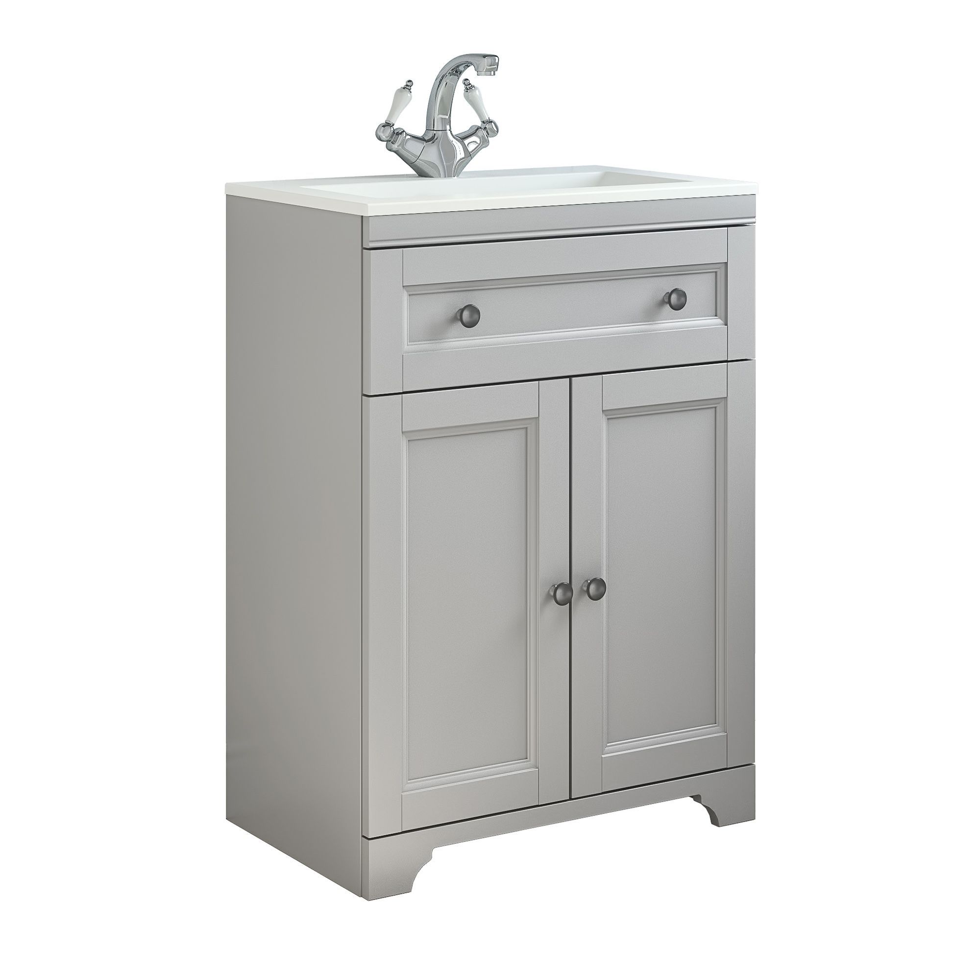 Vanity Light No Stud : Cooke & Lewis Chadleigh Matt Light Grey Vanity Unit & Basin Set Departments DIY at B&Q