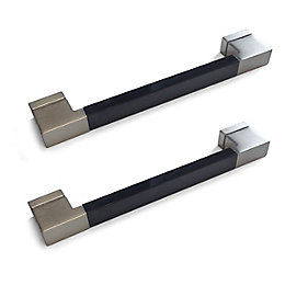 Black Gloss & Brushed Nickel Effect Straight Square