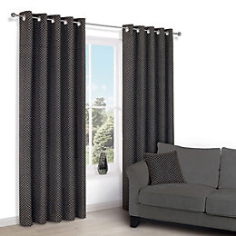 Camasha Black Honeycomb Woven Eyelet Lined Curtains (W)117