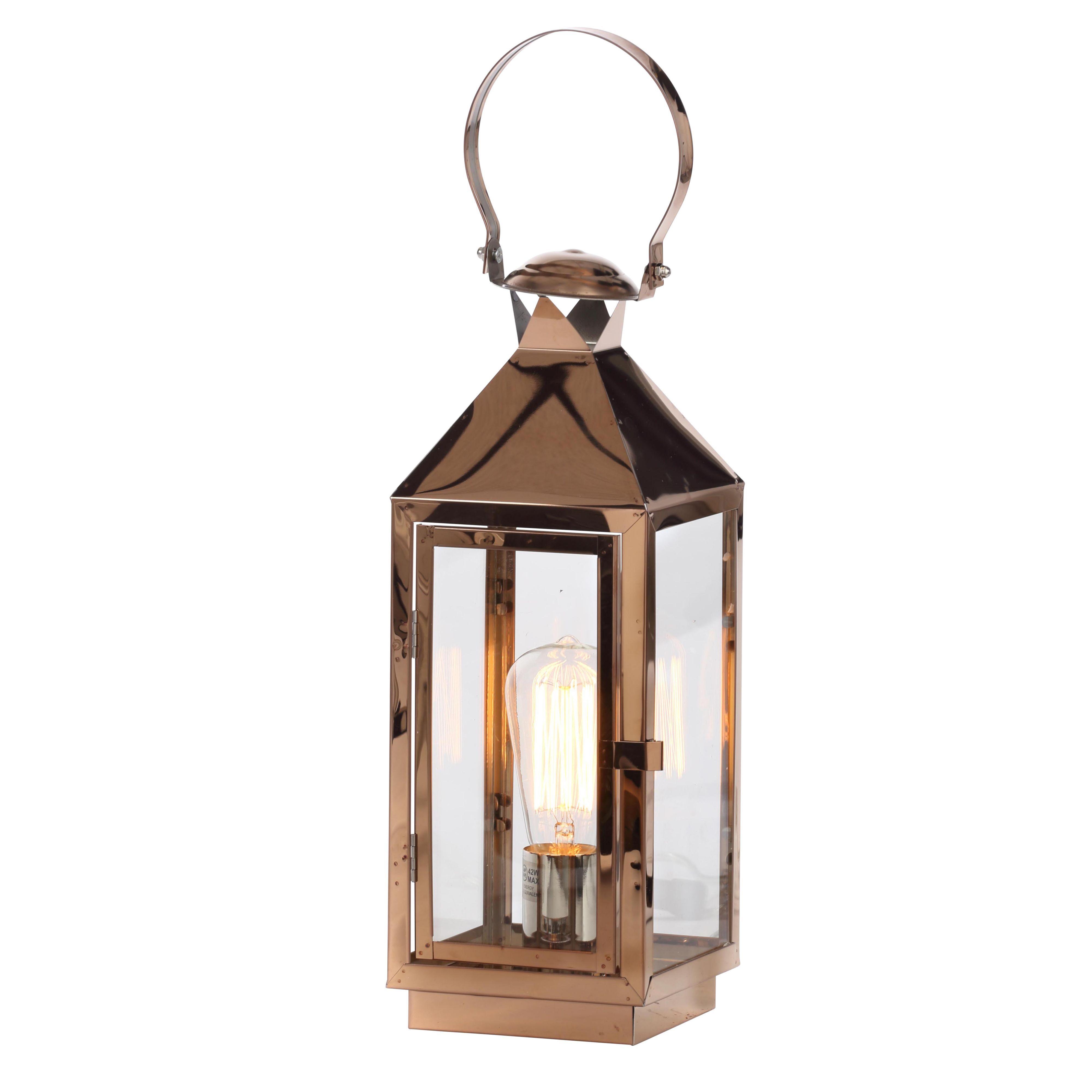 Hurricane Lantern Copper Table Lamp Departments DIY At B Q