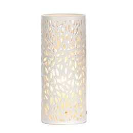 Cutout Leaf Cream Ceramic Table Lamp
