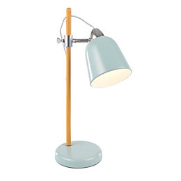 Duck Egg Oak Effect Task Table Lamp