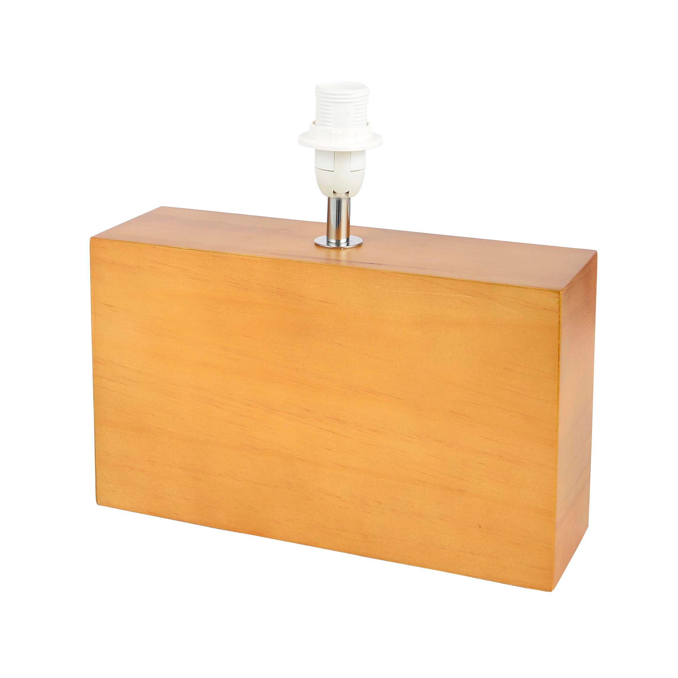 hector rectangle oak effect table lamp departments diy at b q. Black Bedroom Furniture Sets. Home Design Ideas