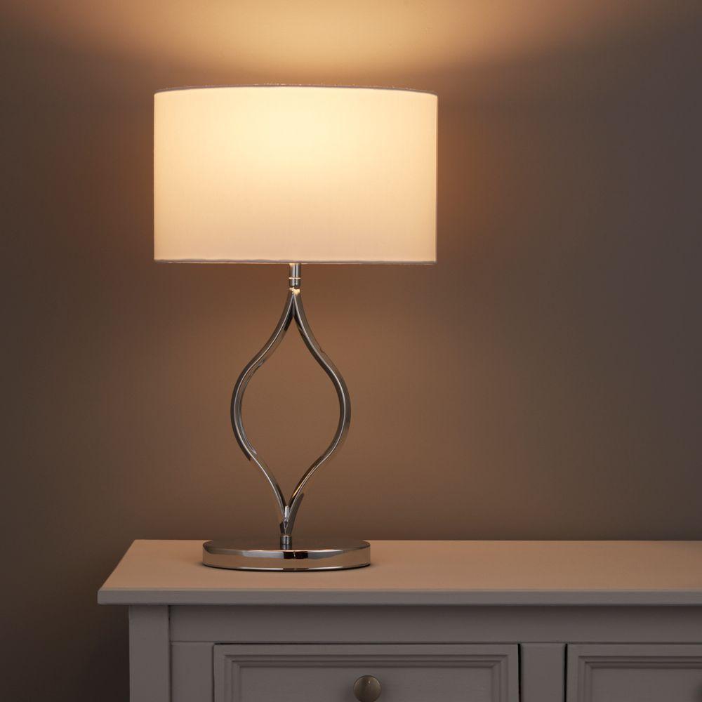 Avory Sculptured White Chrome Effect Table Lamp