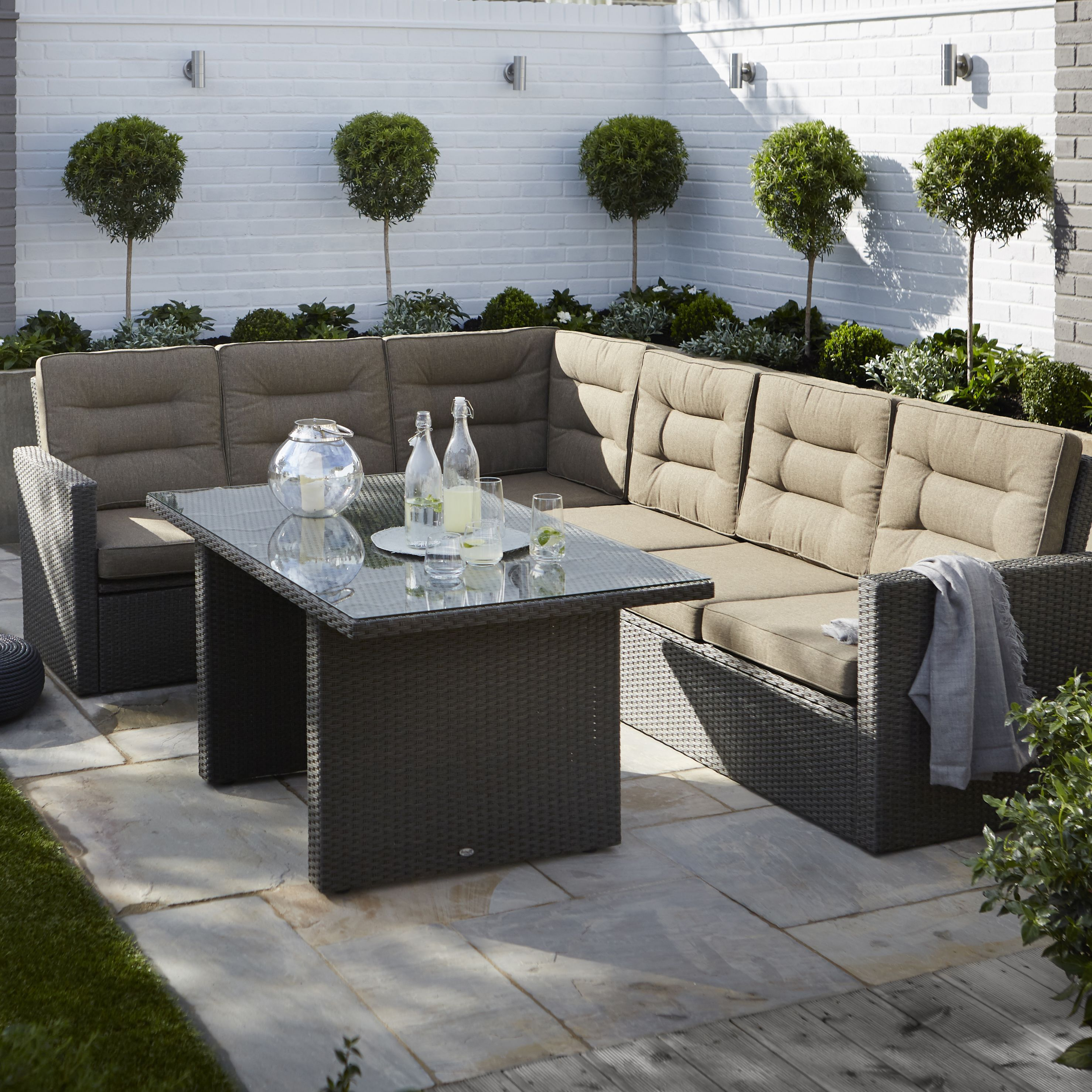 Kington Rattan Effect 7 Seater Dining Set