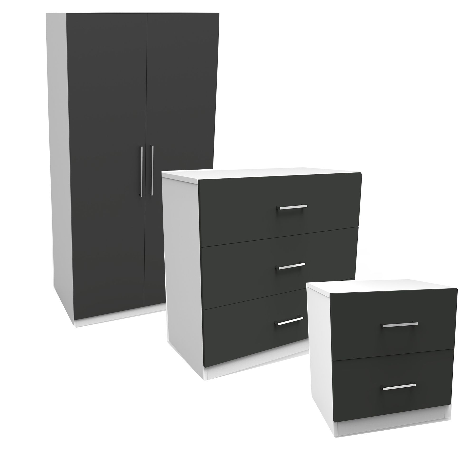 Darwin Gloss Anthracite & White 3 Piece Bedroom Furniture Set