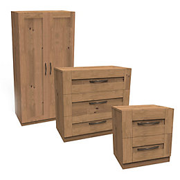 Darwin Shaker Oak Effect 3 Piece Bedroom Furniture