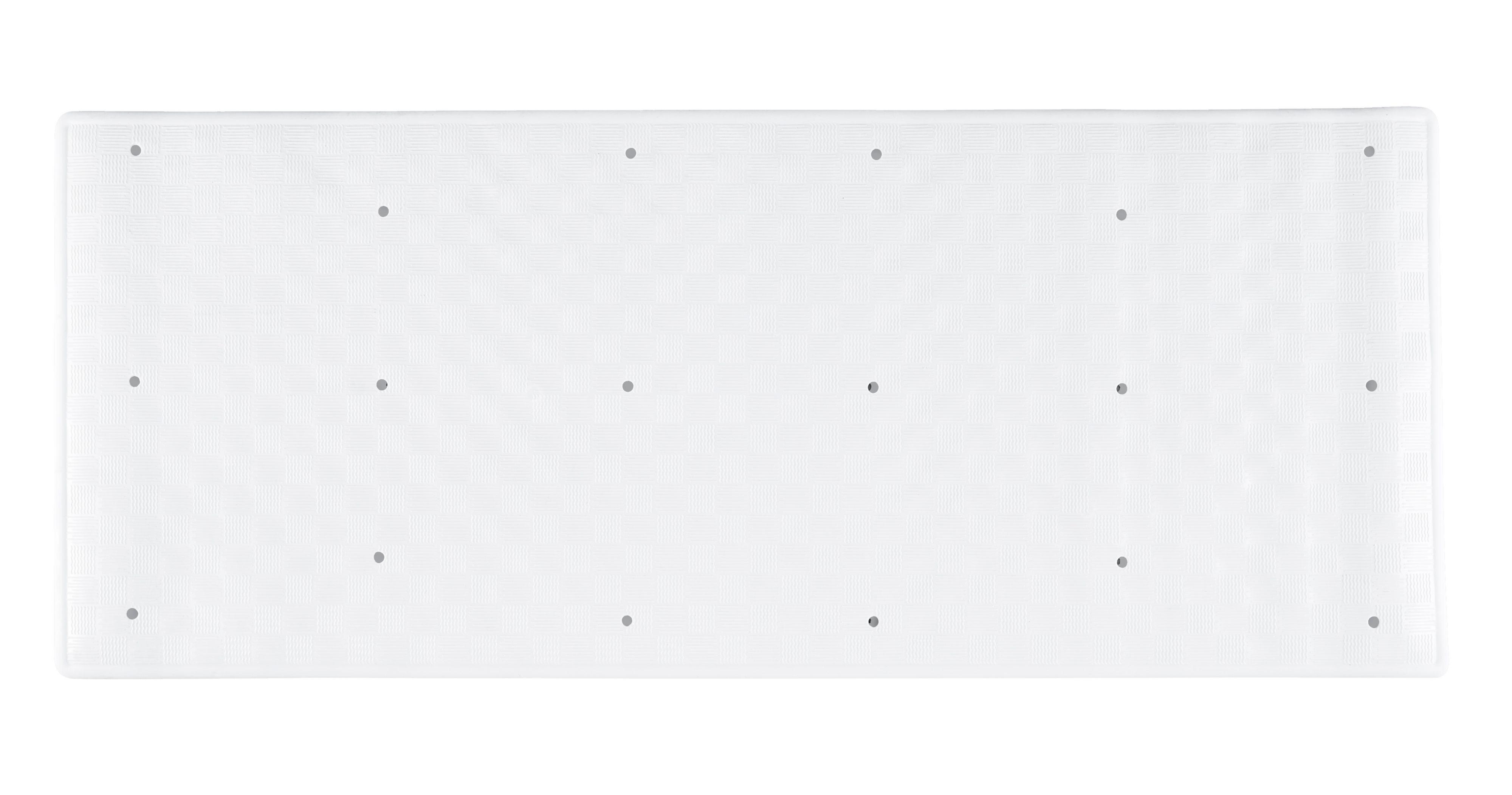 B&q Torquay White Tiled Rubber Anti-slip Bath Mat (l)900mm (w)370mm