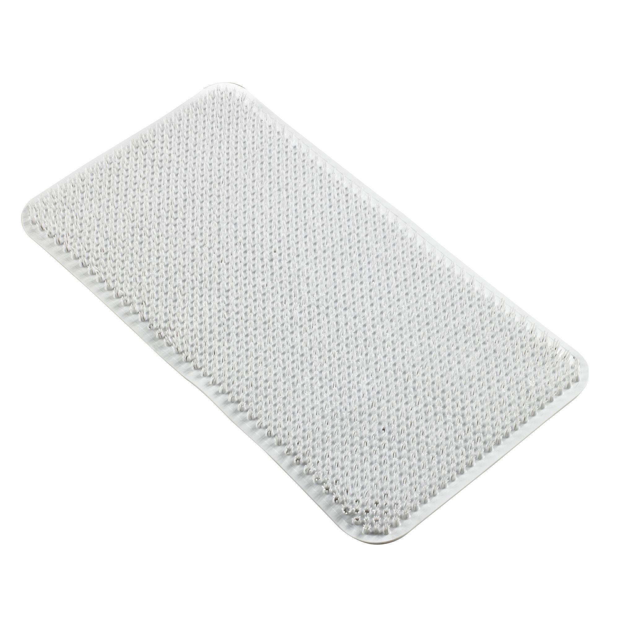 B&q White Soft Textured Coral Effect Pvc Anti-slip Bath Mat (l)650mm (w)350mm