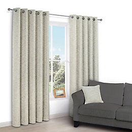Christa Limestone Plain Chenille Eyelet Lined Curtains (W)117cm