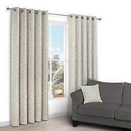 Christa Limestone Plain Chenille Eyelet Lined Curtains (W)228cm