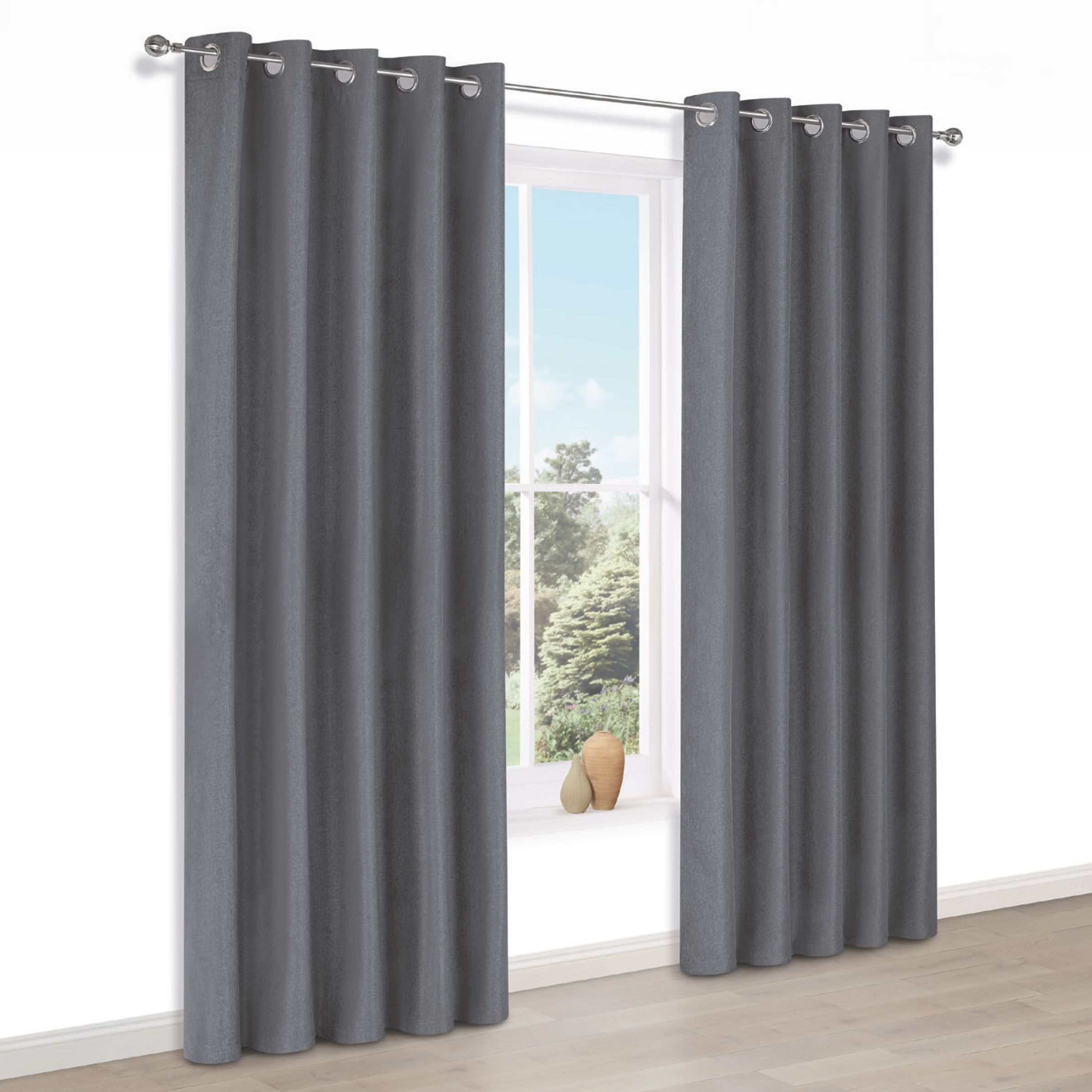 Doroto Grey Plain Thermal Eyelet Lined Curtains (w)117cm (l)137cm