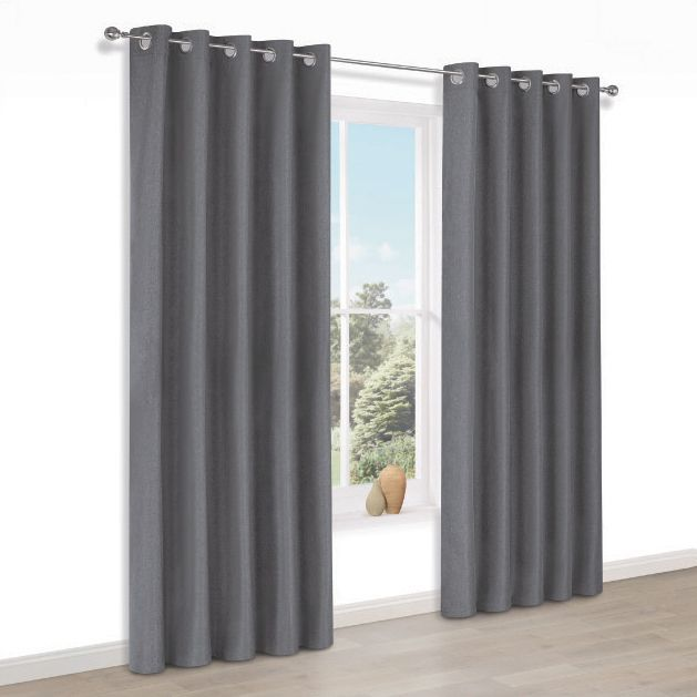 Doroto Grey Plain Thermal Eyelet Lined Curtains (w)167cm (l)183cm