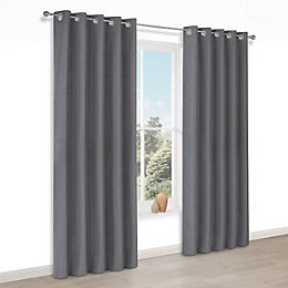 Doroto Grey Plain Thermal Eyelet Lined Curtains (W)167cm