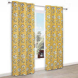 Carabelle Yellow Floral Print Eyelet Lined Curtains (W)117cm