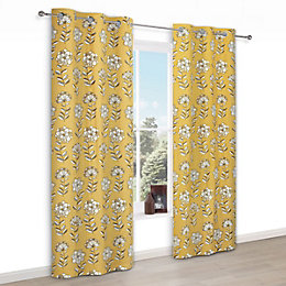 Carabelle Yellow Floral Print Eyelet Lined Curtains (W)228cm