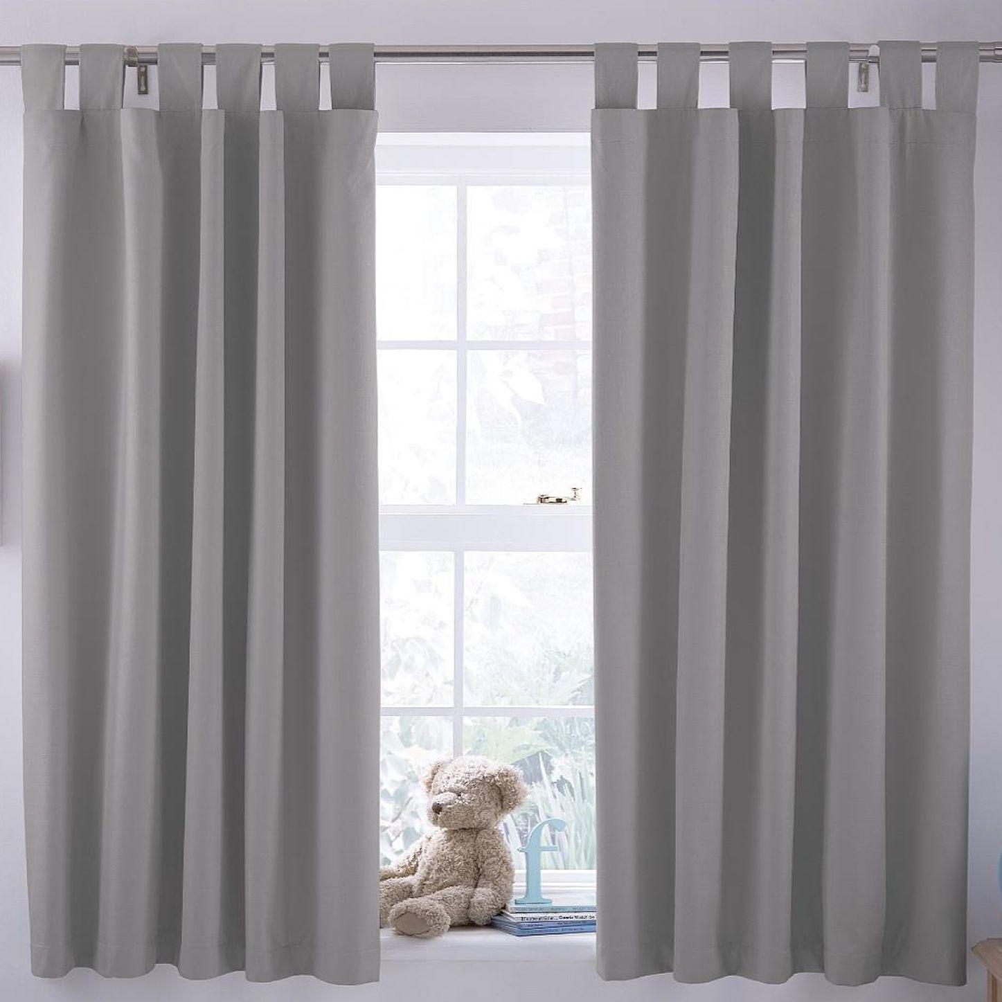Ardella Grey Plain Blackout Coating Tab Top Blackout Curtains (w)168 Cm (l)137 Cm