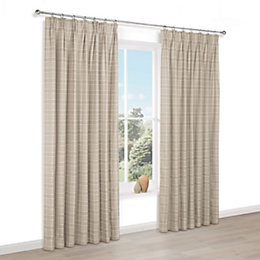 Celena Natural Check Pencil Pleat Lined Curtains (W)117cm