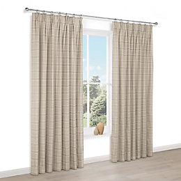 Celena Natural Check Pencil Pleat Lined Curtains (W)228cm