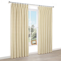 Carlisa Gold Check Pencil Pleat Lined Curtains (W)117cm