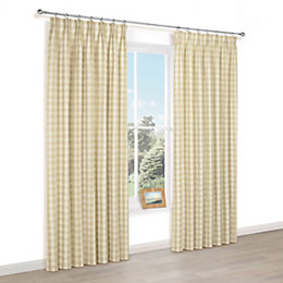 Carlisa Gold Check Pencil Pleat Lined Curtains (W)167