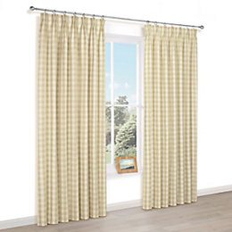 Carlisa Gold Check Pencil Pleat Lined Curtains (W)167cm