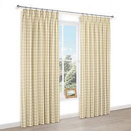 Carlisa Gold Check Pencil Pleat Lined Curtains (W)228cm