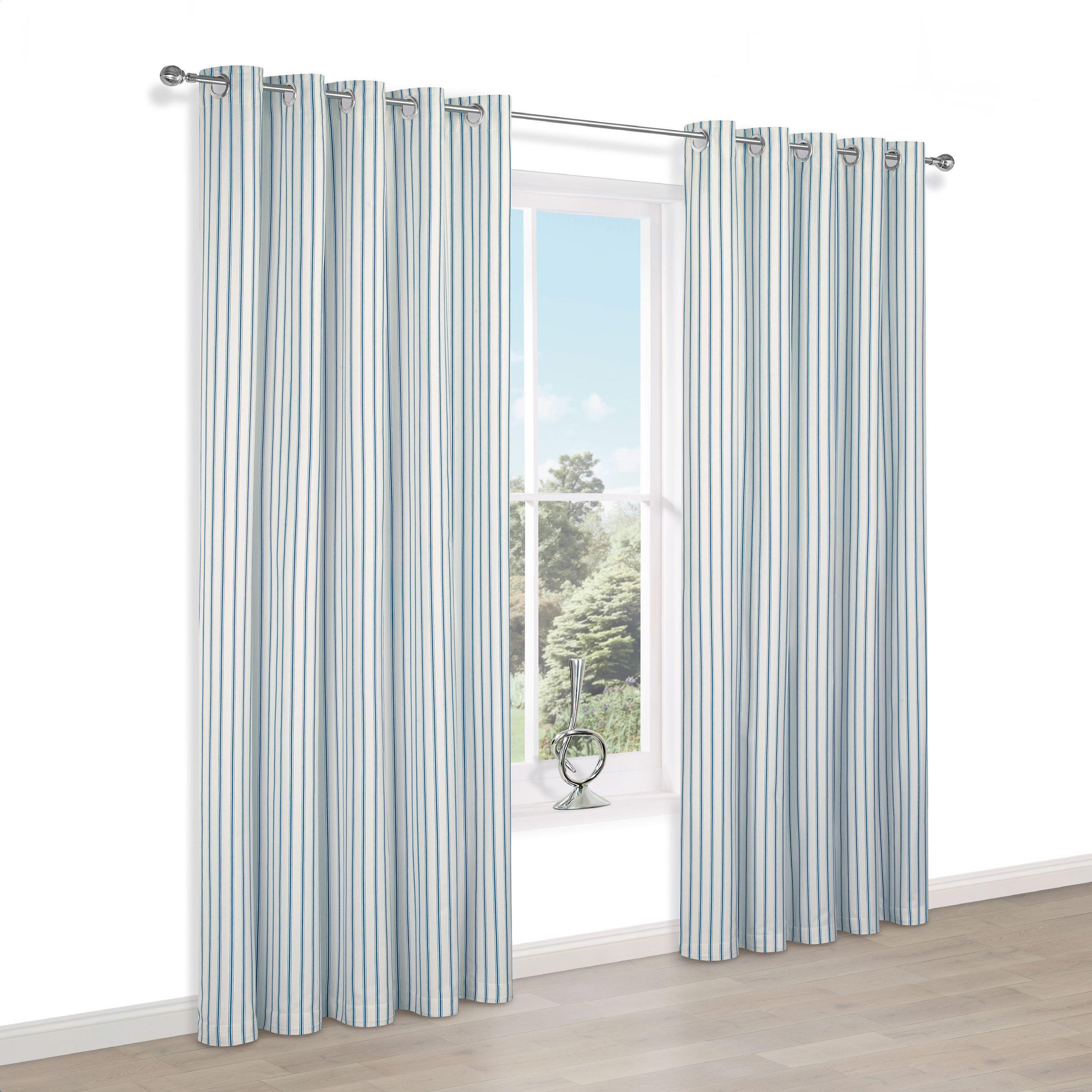 Christina Blue & White Stripe Eyelet Lined Curtains (w)117cm (l)137cm