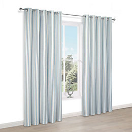 Chrsitina Blue & White Stripe Eyelet Lined Curtains