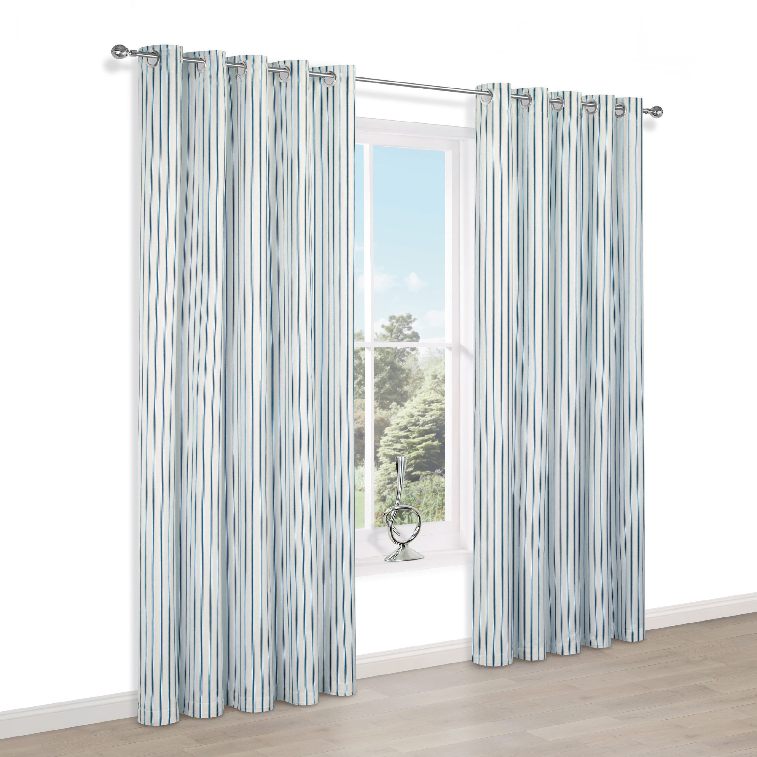 Christina Blue & White Stripe Eyelet Lined Curtains (w)228cm (l)228cm