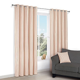 Chrsitina Cream & Red Stripe Eyelet Lined Curtains