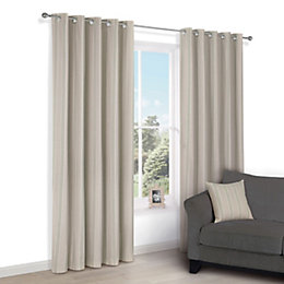 Chaylea Green Stripe Eyelet Lined Curtains (W)117cm (L)137cm