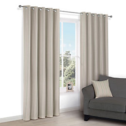 Chaylea Green Stripe Eyelet Lined Curtains (W)167cm (L)183cm