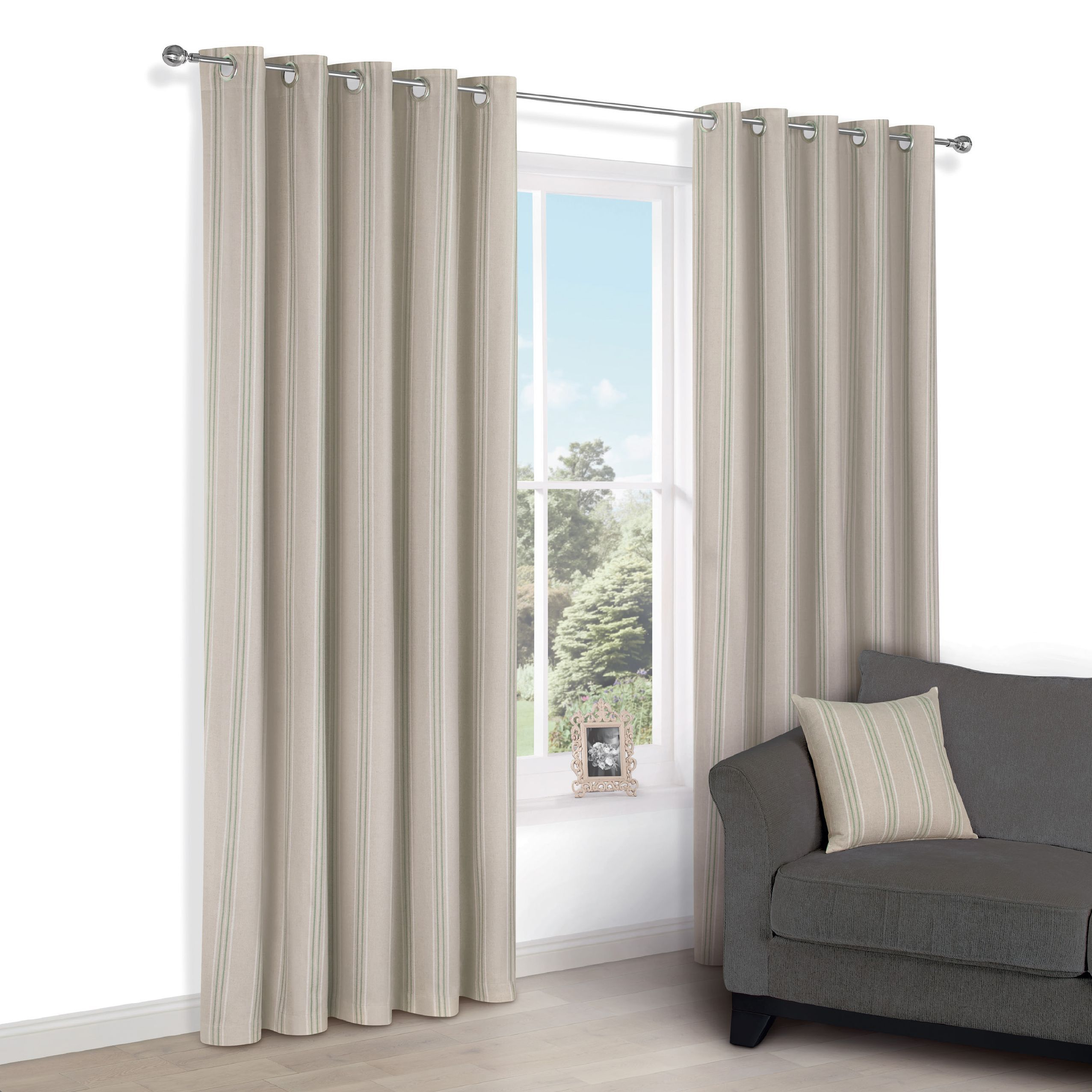 Chaylea Green Stripe Eyelet Lined Curtains (w)228cm (l)228cm