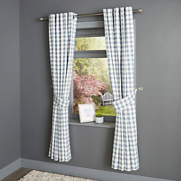 Chenoa Blue & White Check Eyelet Lined Curtains