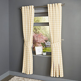 Carlisa Gold & White Check Eyelet Lined Curtains