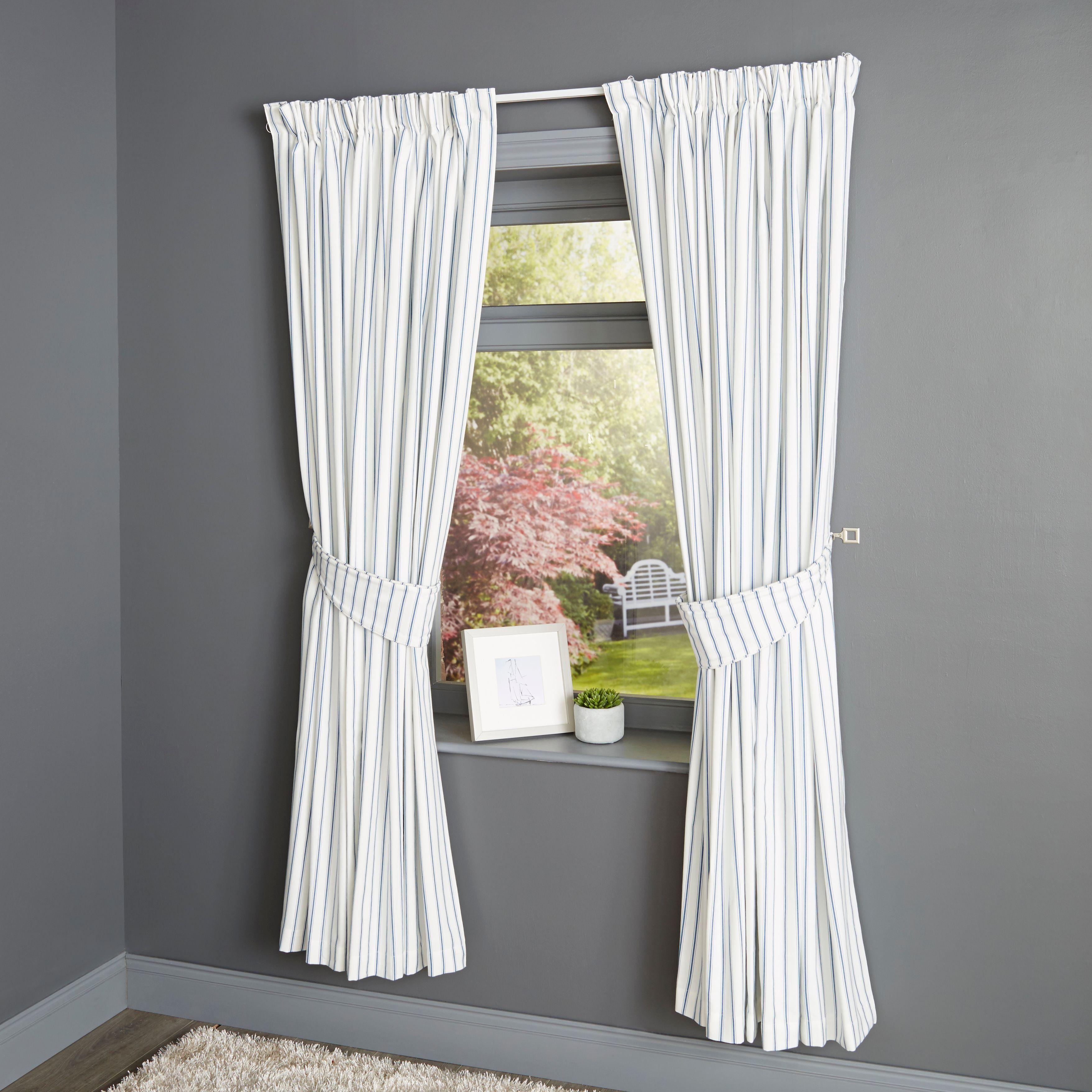 Christina Blue & White Stripe Pencil Pleat Lined Curtains (w)167cm (l)228cm