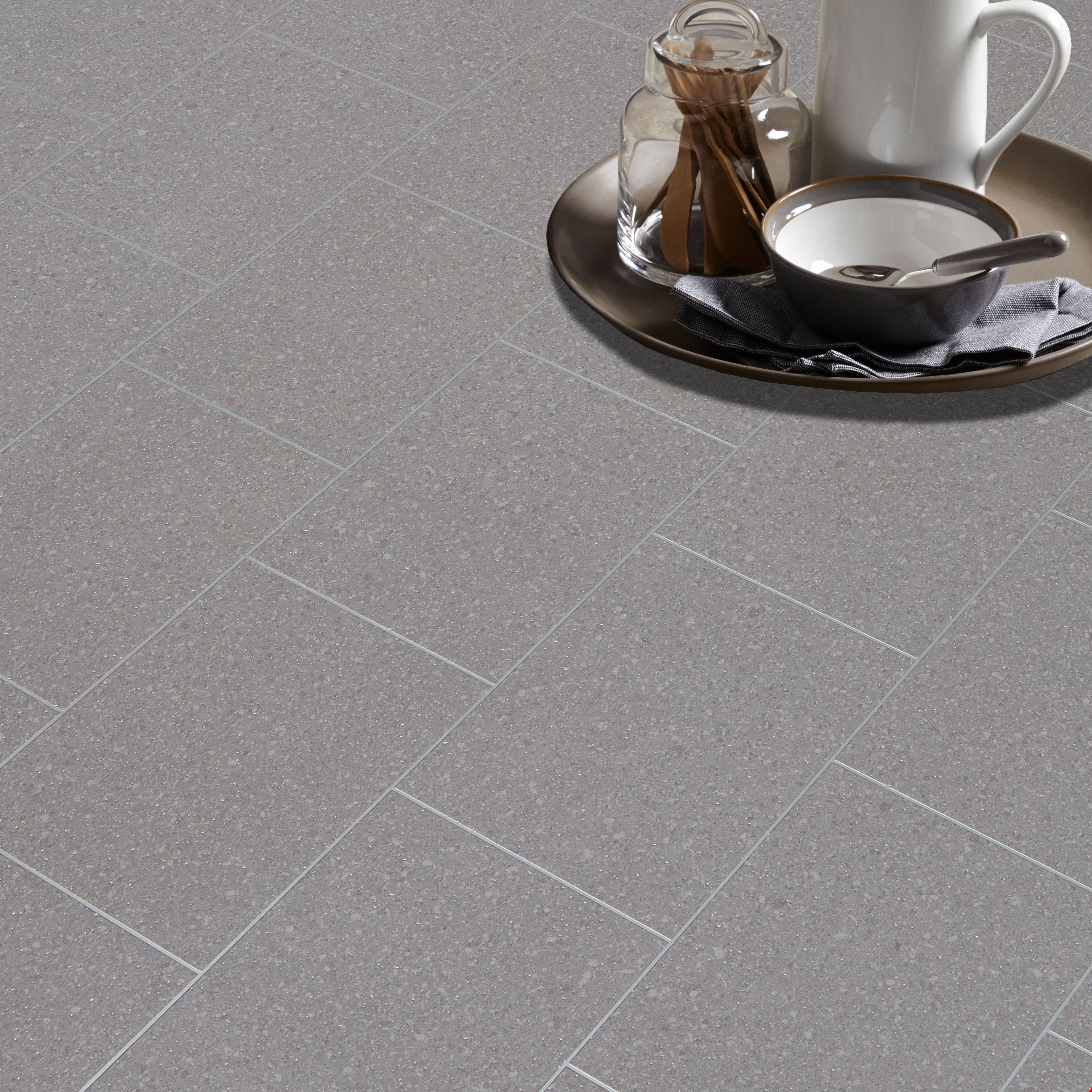 Monzen Grey Tile Effect Matt Vinyl Flooring 4 M²