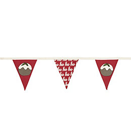 Colours Christmas Pudding Decorative Bunting, (L)3m