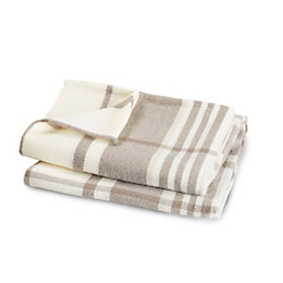 Colours Taupe & White Plaid Woven Throw