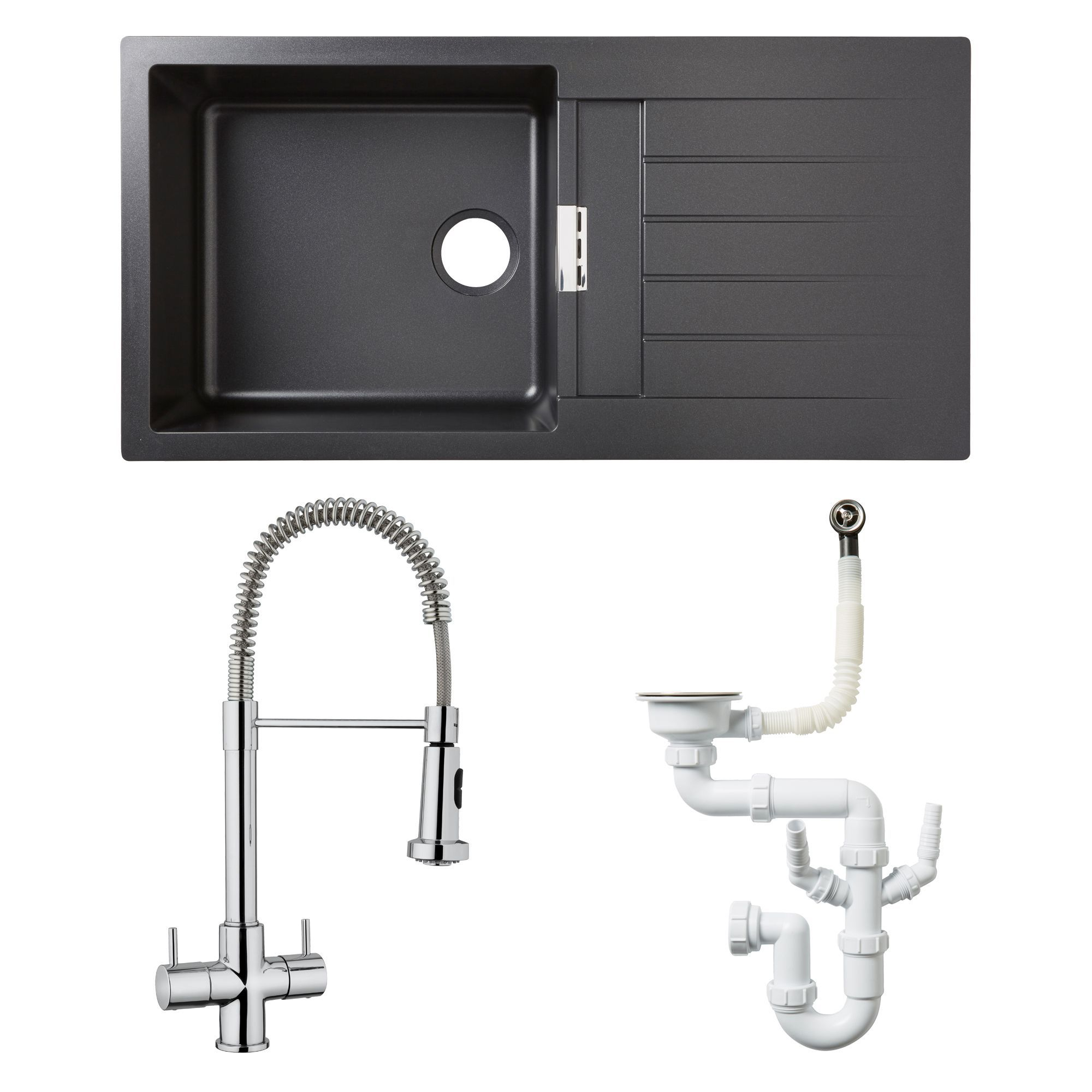 Glass Bathroom Sinks B&Q cooke & lewis 1 bowl black composite quartz sink, spring neck tap