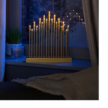 LED candle arch in a window