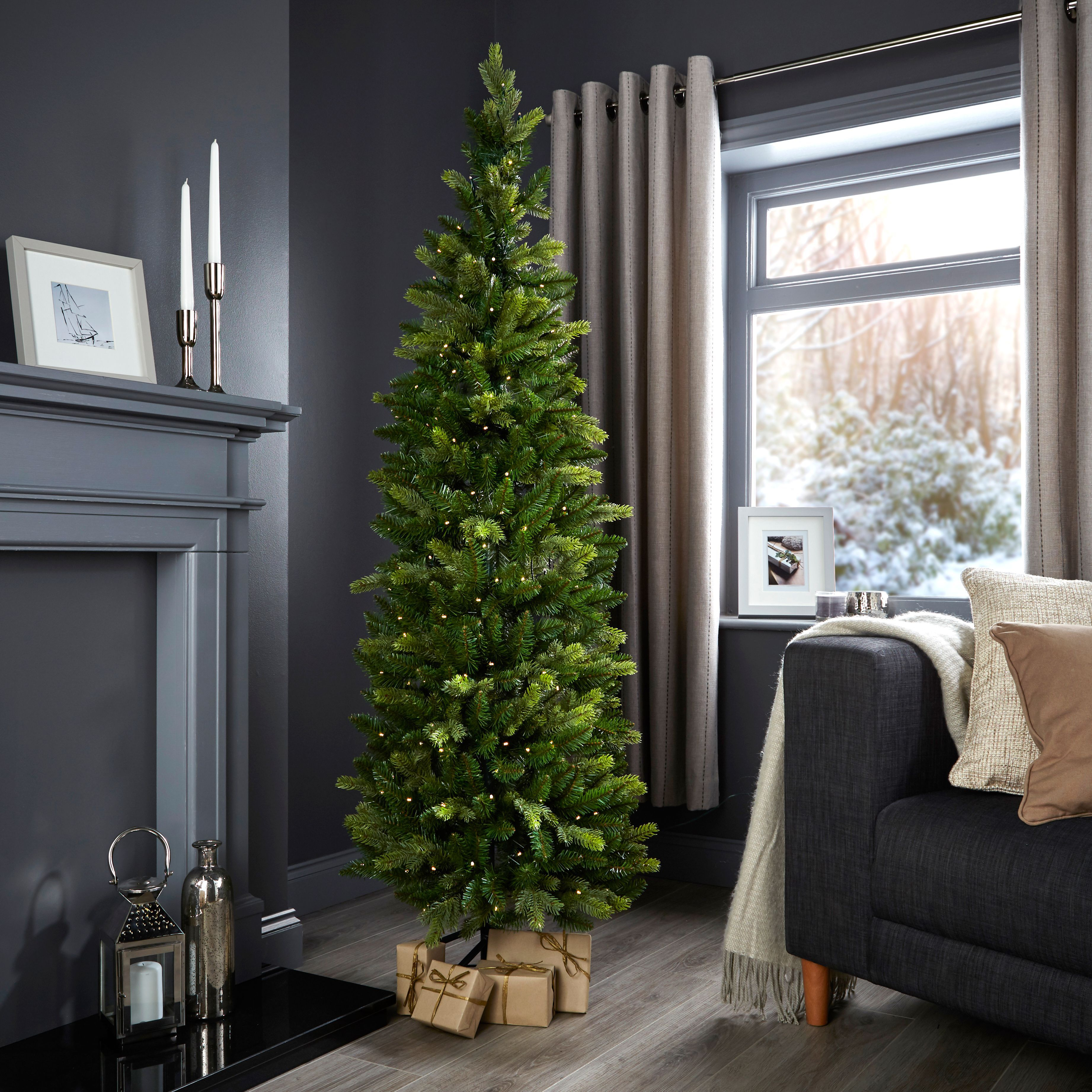Pop Up Christmas Trees With Lights: 6ft Pop Up Slim Pre-Lit Christmas Tree