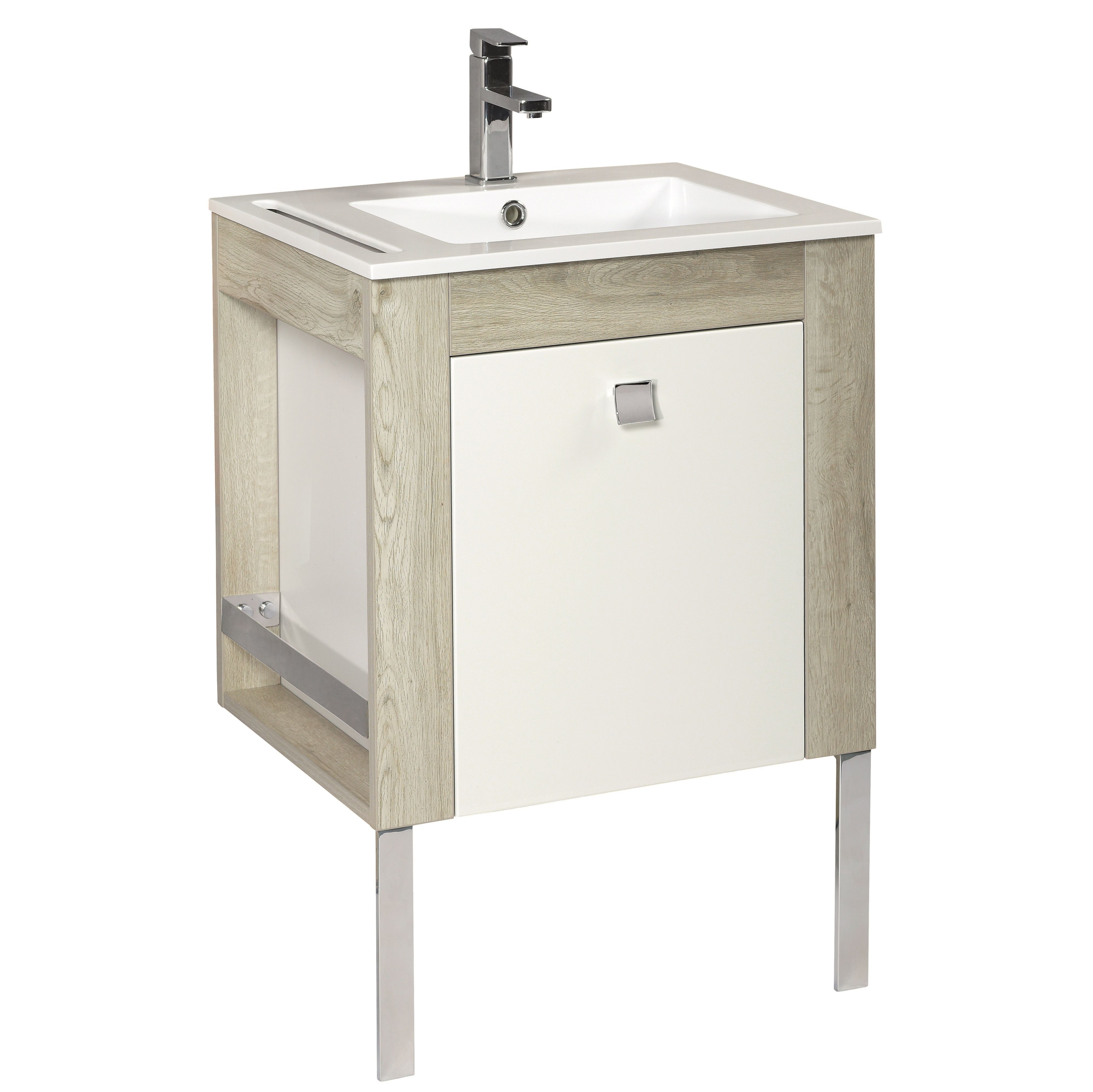 Cooke and lewis bathroom mirrors - Cooke Lewis Amazon Oak Effect With White Lacquer Vanity Unit Basin Set