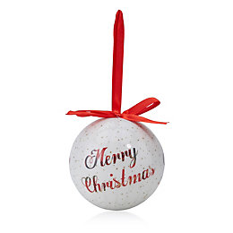 White & Red Merry Christmas Bauble